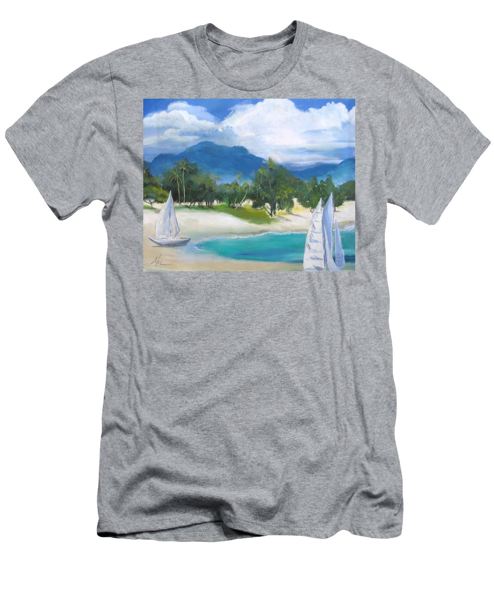 Water Men's T-Shirt (Athletic Fit) featuring the painting Homesick For Hawaii by Melody Horton Karandjeff