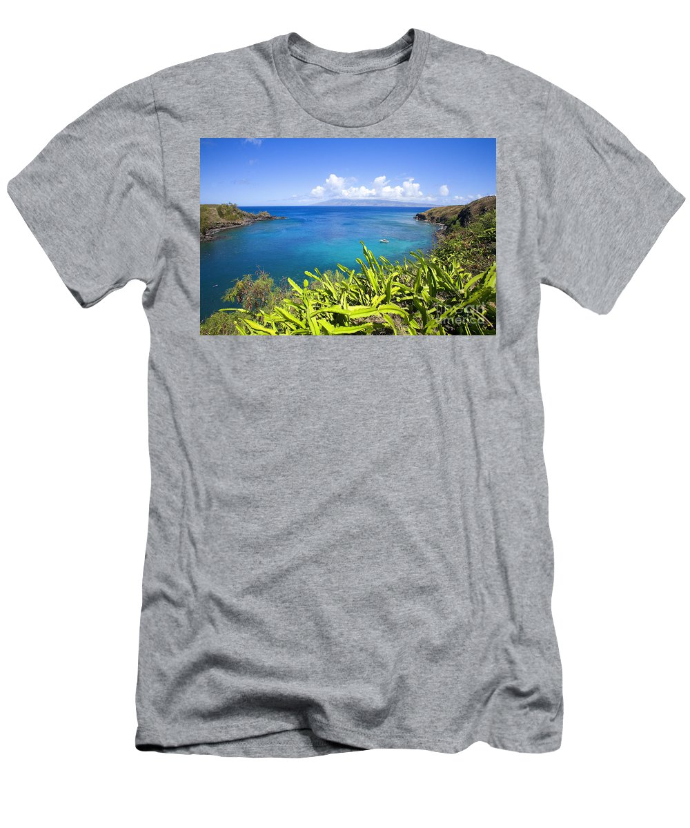 Above Men's T-Shirt (Athletic Fit) featuring the photograph Honolua Bay by Ron Dahlquist - Printscapes