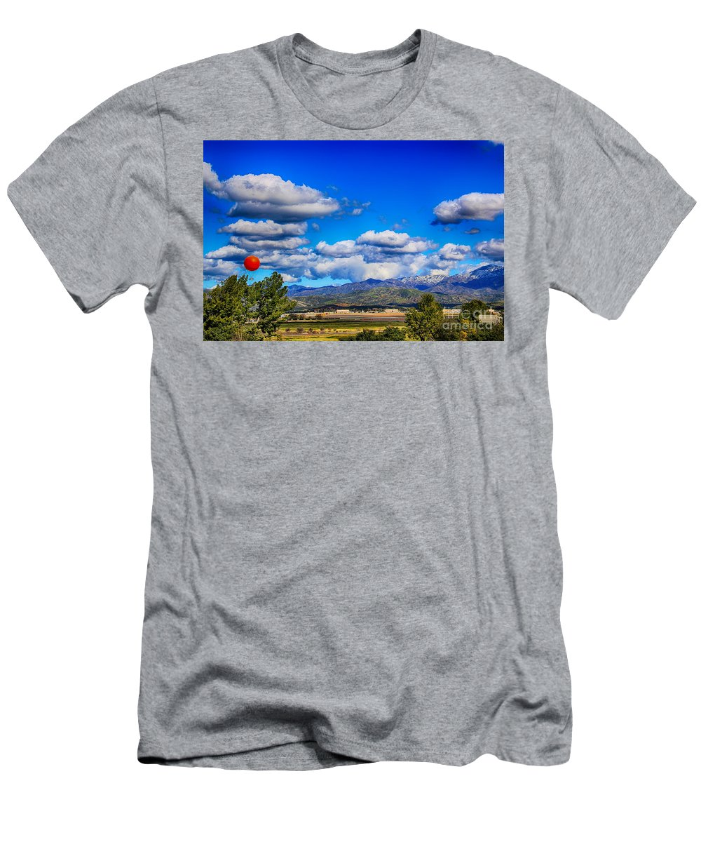 Great Park Balloon Men's T-Shirt (Athletic Fit) featuring the photograph Hot Air Balloon Ride In Orange County by Mariola Bitner