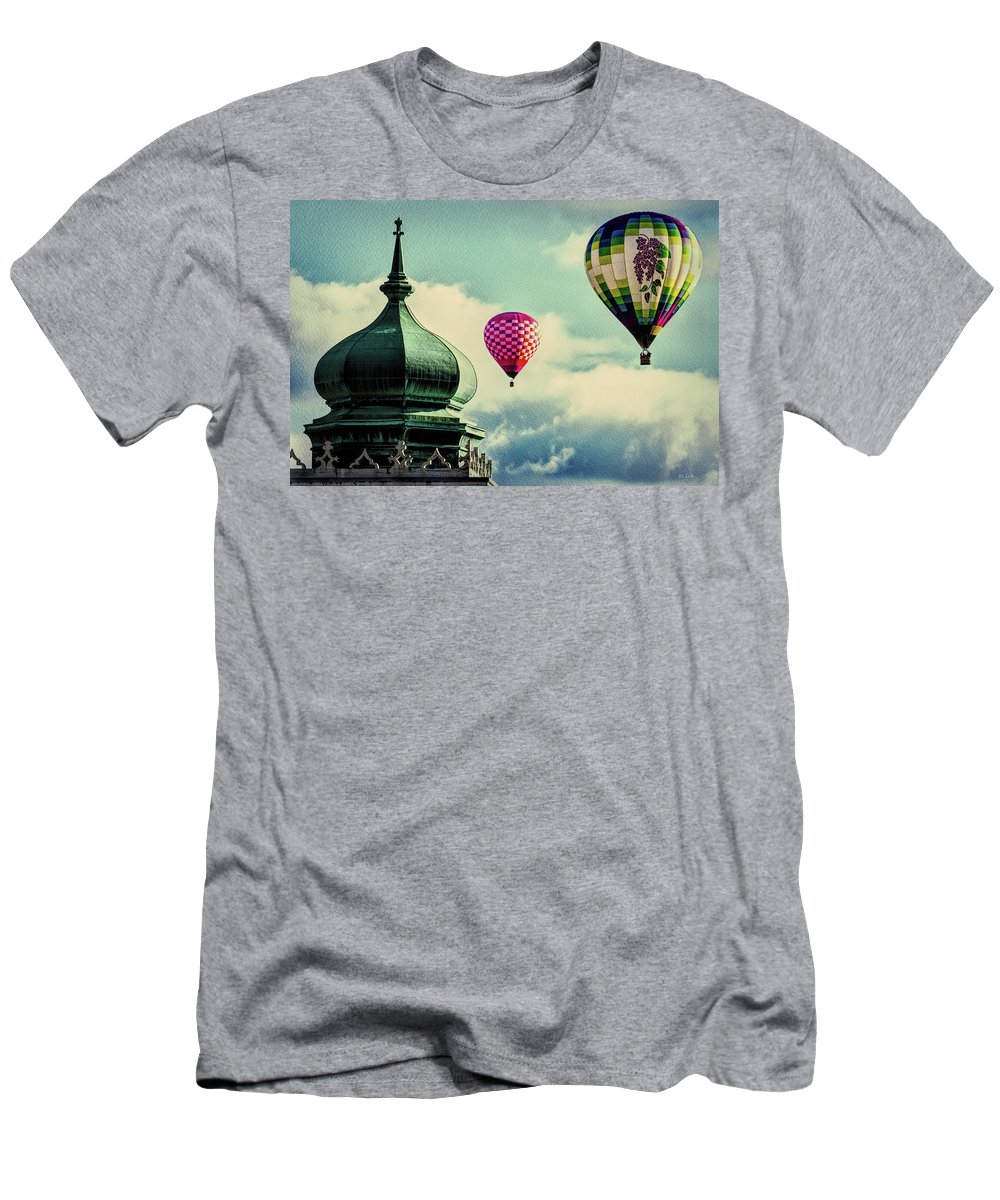 Hot Air Balloon Men's T-Shirt (Athletic Fit) featuring the photograph Hot Air Balloons Float Over Lewiston Maine by Bob Orsillo