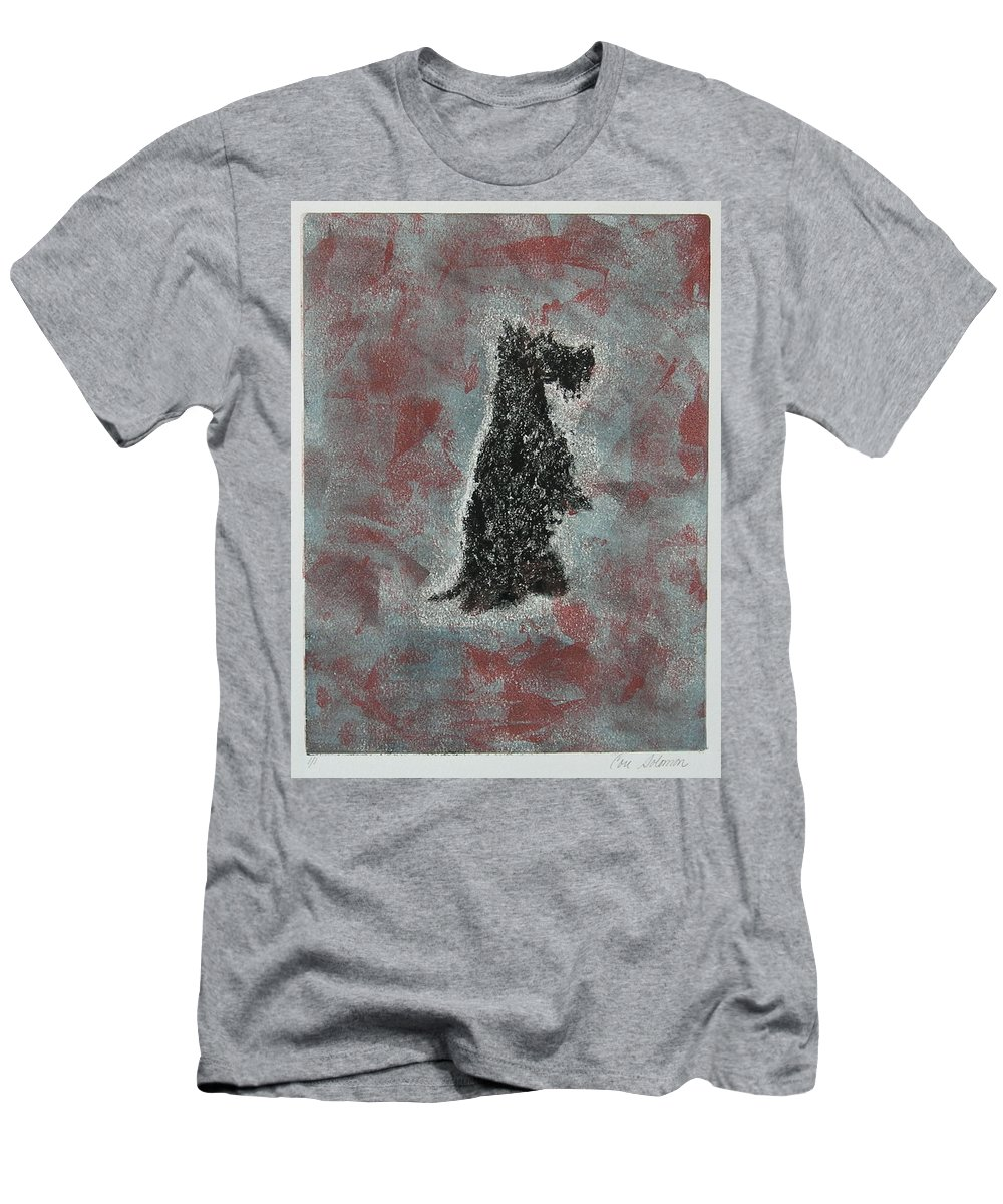 Scottish Terrier Men's T-Shirt (Athletic Fit) featuring the mixed media Hot Scottie by Cori Solomon