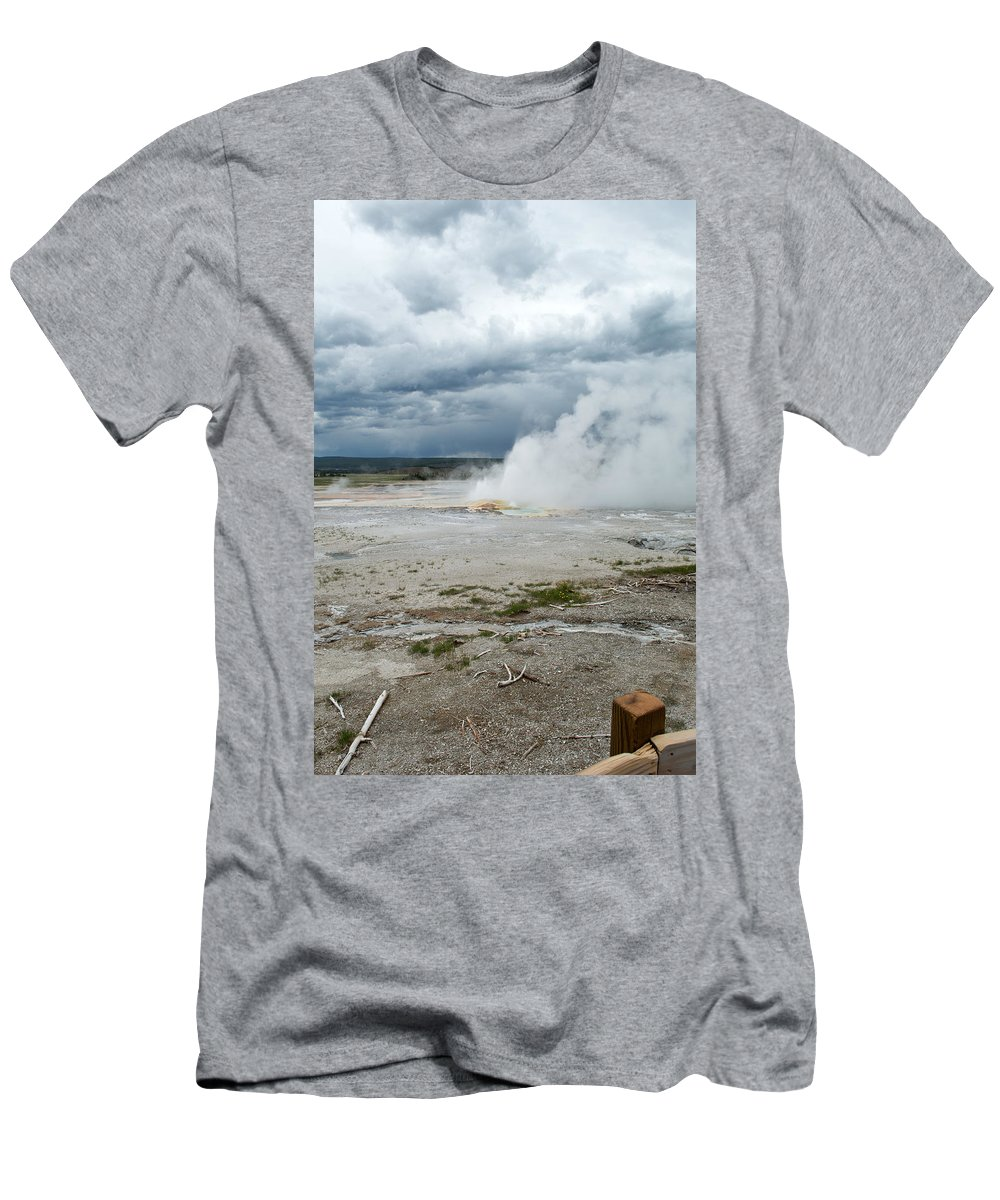Geyser Men's T-Shirt (Athletic Fit) featuring the photograph Hot Spot by Linda Kerkau