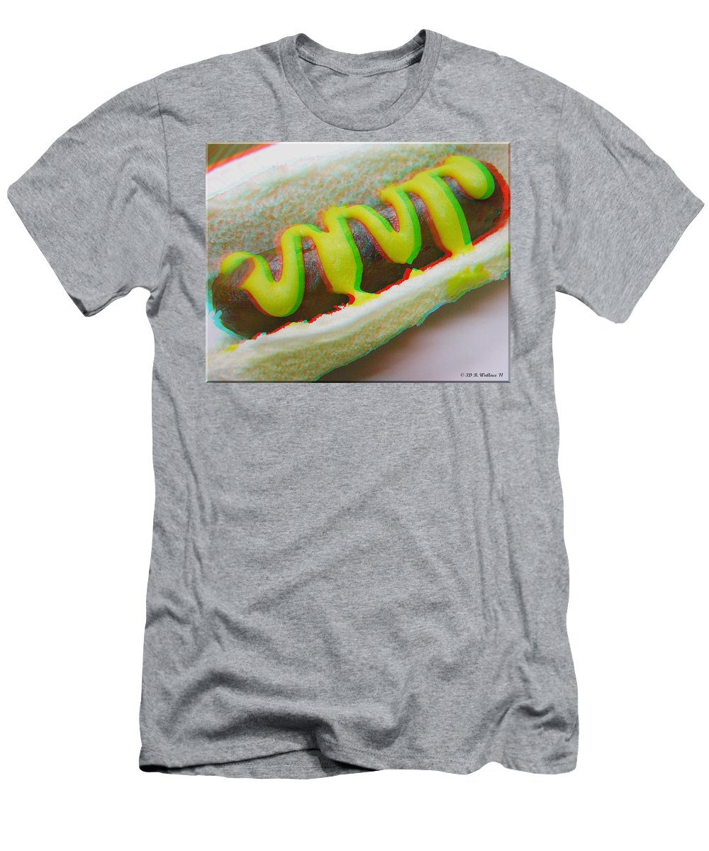 3d Men's T-Shirt (Athletic Fit) featuring the photograph Hotdog - Use Red-cyan 3d Glasses by Brian Wallace