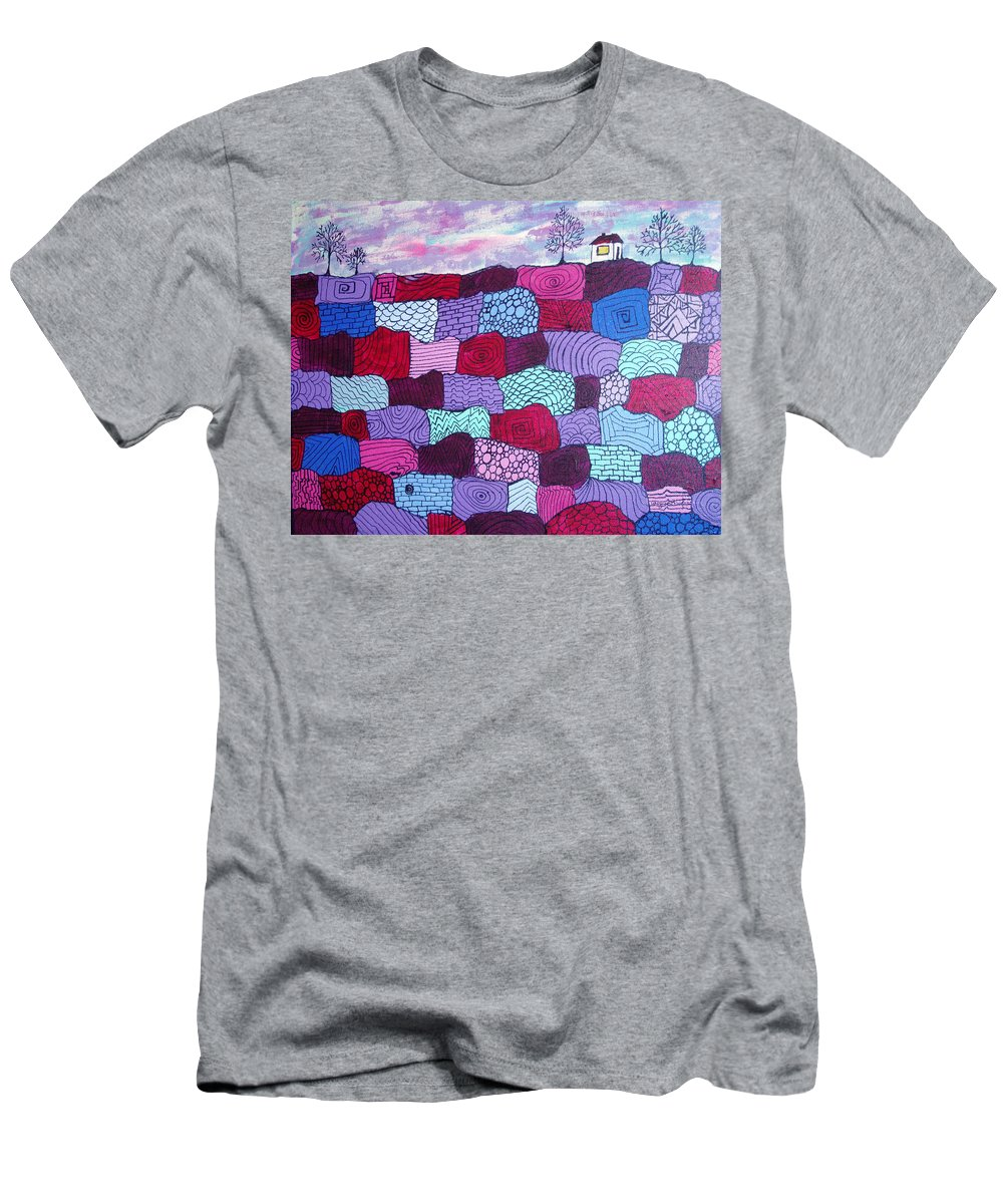 Folk Art Men's T-Shirt (Athletic Fit) featuring the painting House On Top Of Patchwork Hill by Wayne Potrafka