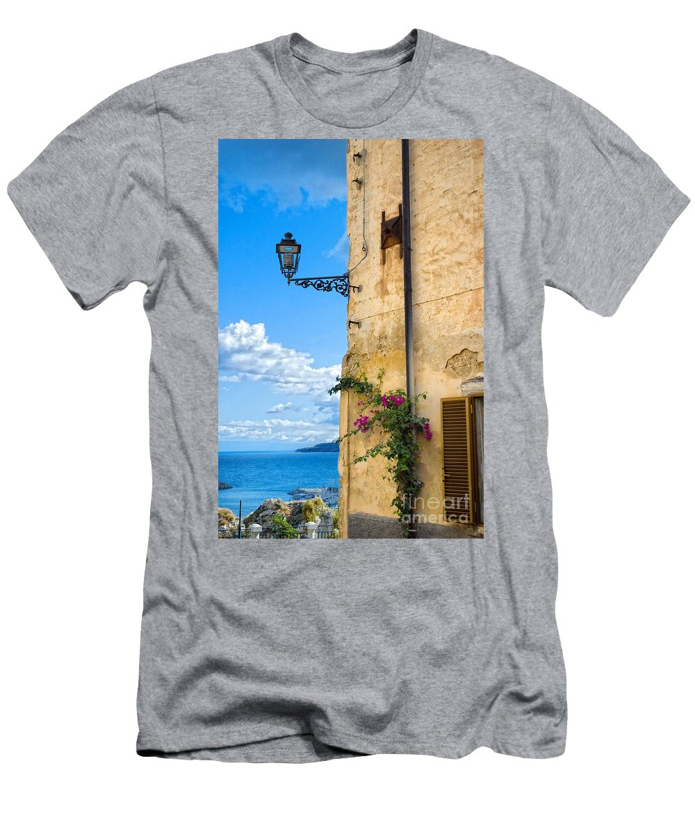 Architecture Men's T-Shirt (Athletic Fit) featuring the photograph House With Bougainvillea Street Lamp And Distant Sea by Silvia Ganora