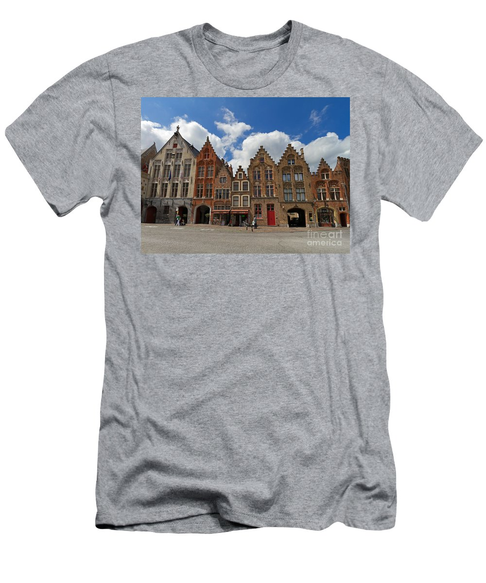 Old Tollhouse Men's T-Shirt (Athletic Fit) featuring the photograph Houses Of Jan Van Eyck Square In Bruges Belgium by Louise Heusinkveld