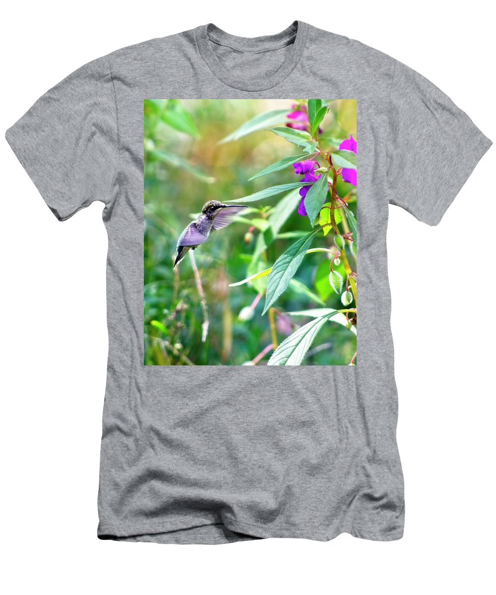 Hummingbird Men's T-Shirt (Athletic Fit) featuring the photograph Hovering Hummingbird by Laura Vilandre