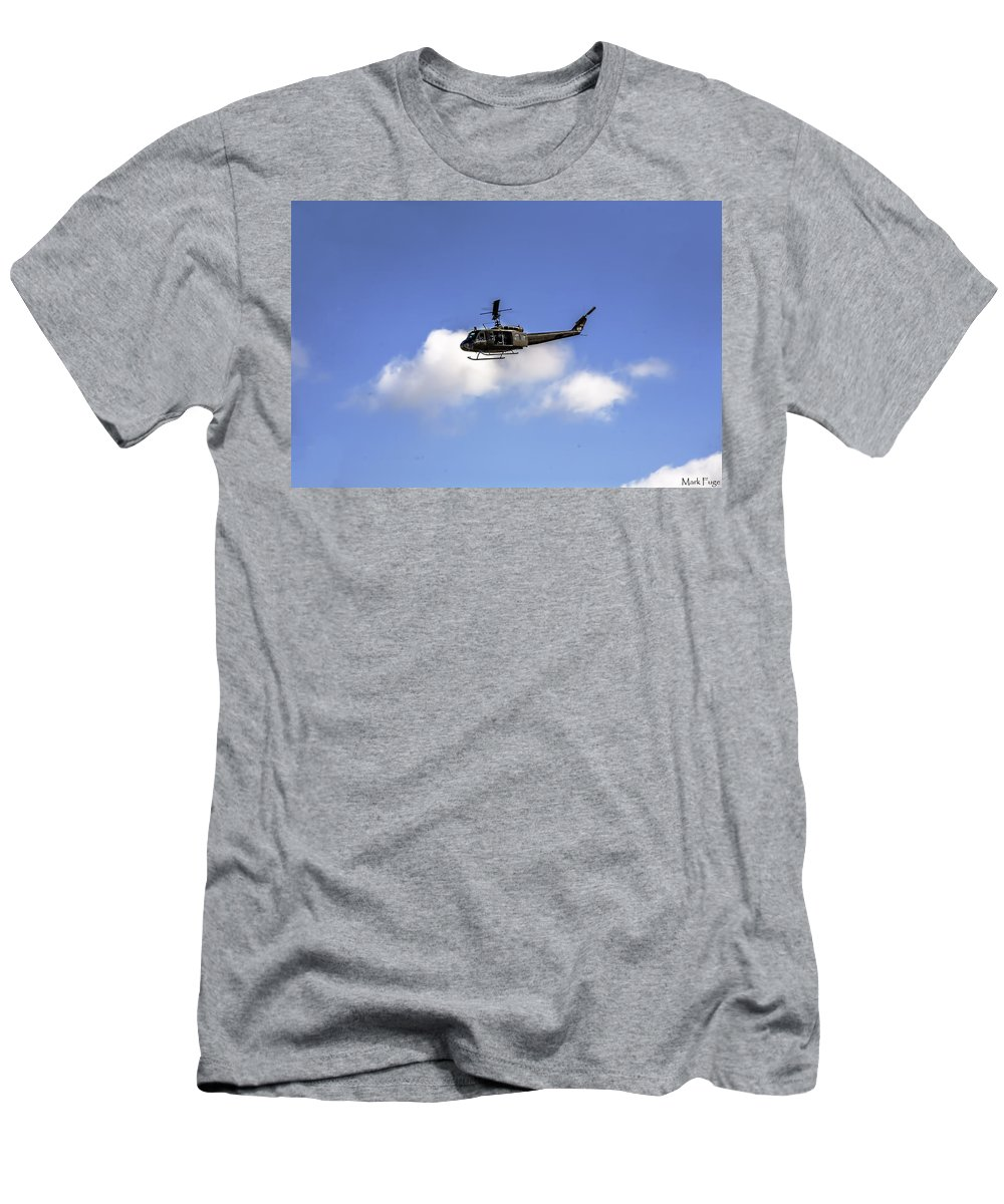 Floriida Men's T-Shirt (Athletic Fit) featuring the photograph Huey Helicopter by Mark Fuge