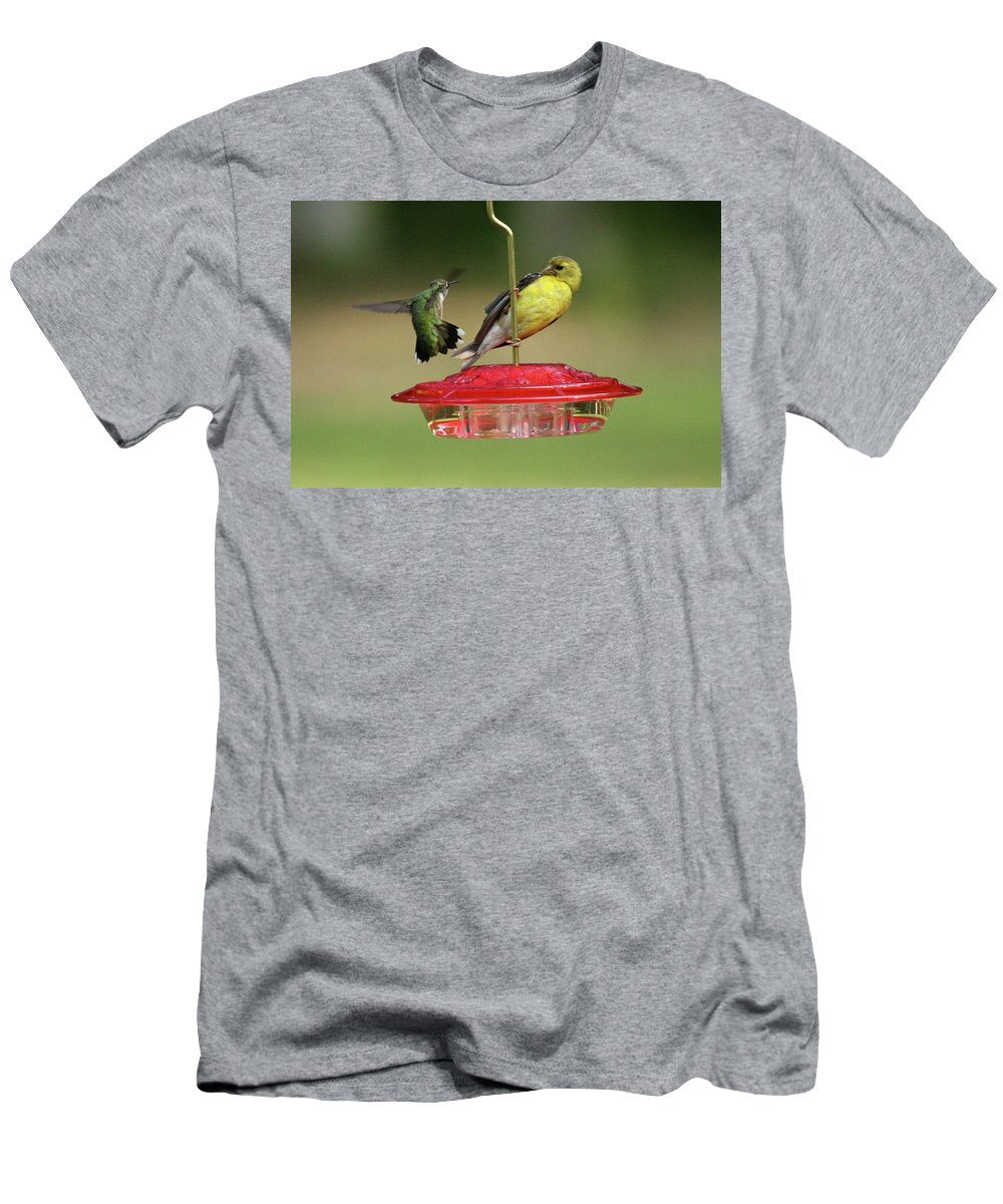 Bird Men's T-Shirt (Athletic Fit) featuring the photograph Hummer Vs. Finch 2 by Lou Ford