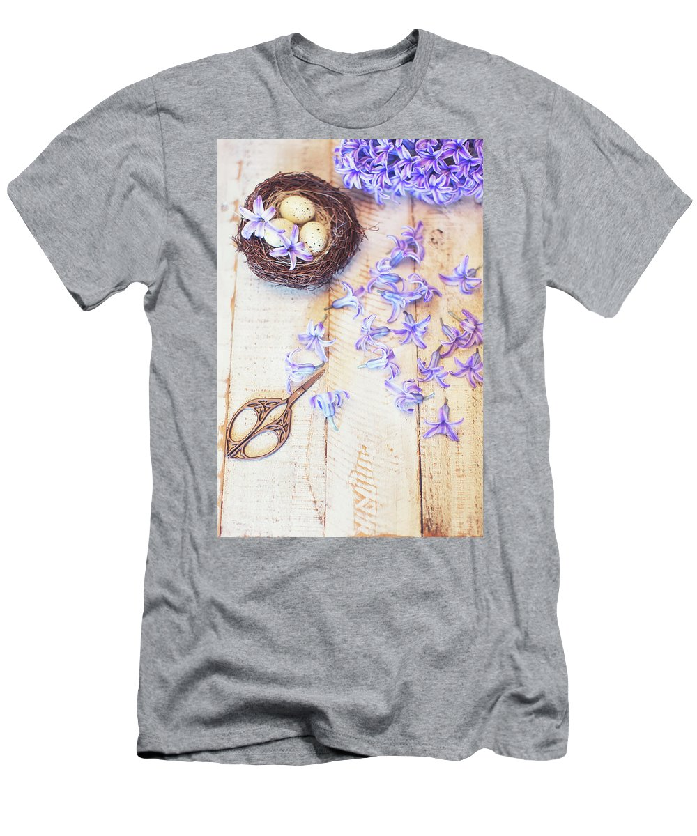 Hyacinth Men's T-Shirt (Athletic Fit) featuring the photograph Hyacinth Flowers And Nest by Susan Gary