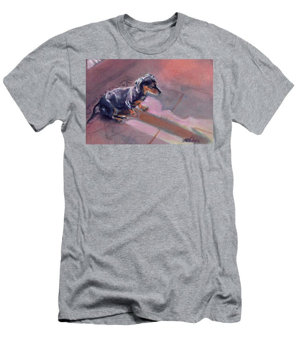 Weener Dog Men's T-Shirt (Athletic Fit) featuring the painting I Am The Master Of My Domain by Sheila Wedegis