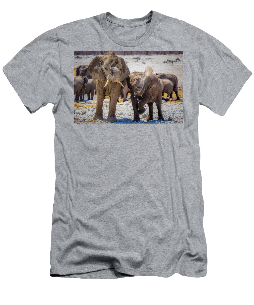 Elephant Men's T-Shirt (Athletic Fit) featuring the photograph I Can Do It Too by Schalk Lombard