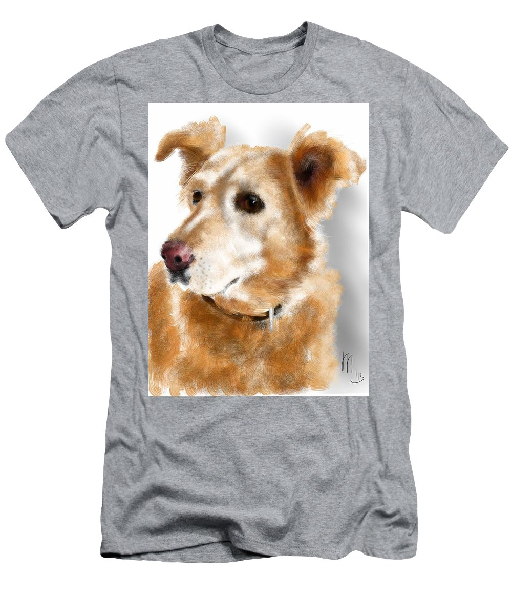 Animals Men's T-Shirt (Athletic Fit) featuring the painting I Hear Something by Lois Ivancin Tavaf
