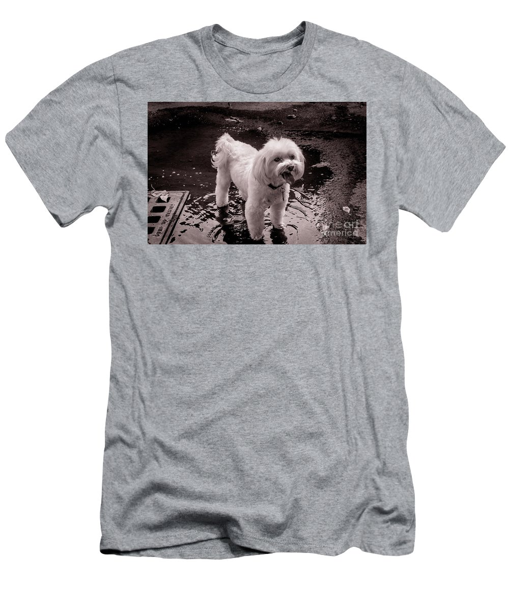 Dog Men's T-Shirt (Athletic Fit) featuring the photograph I Like The Mud by Wayne Heim