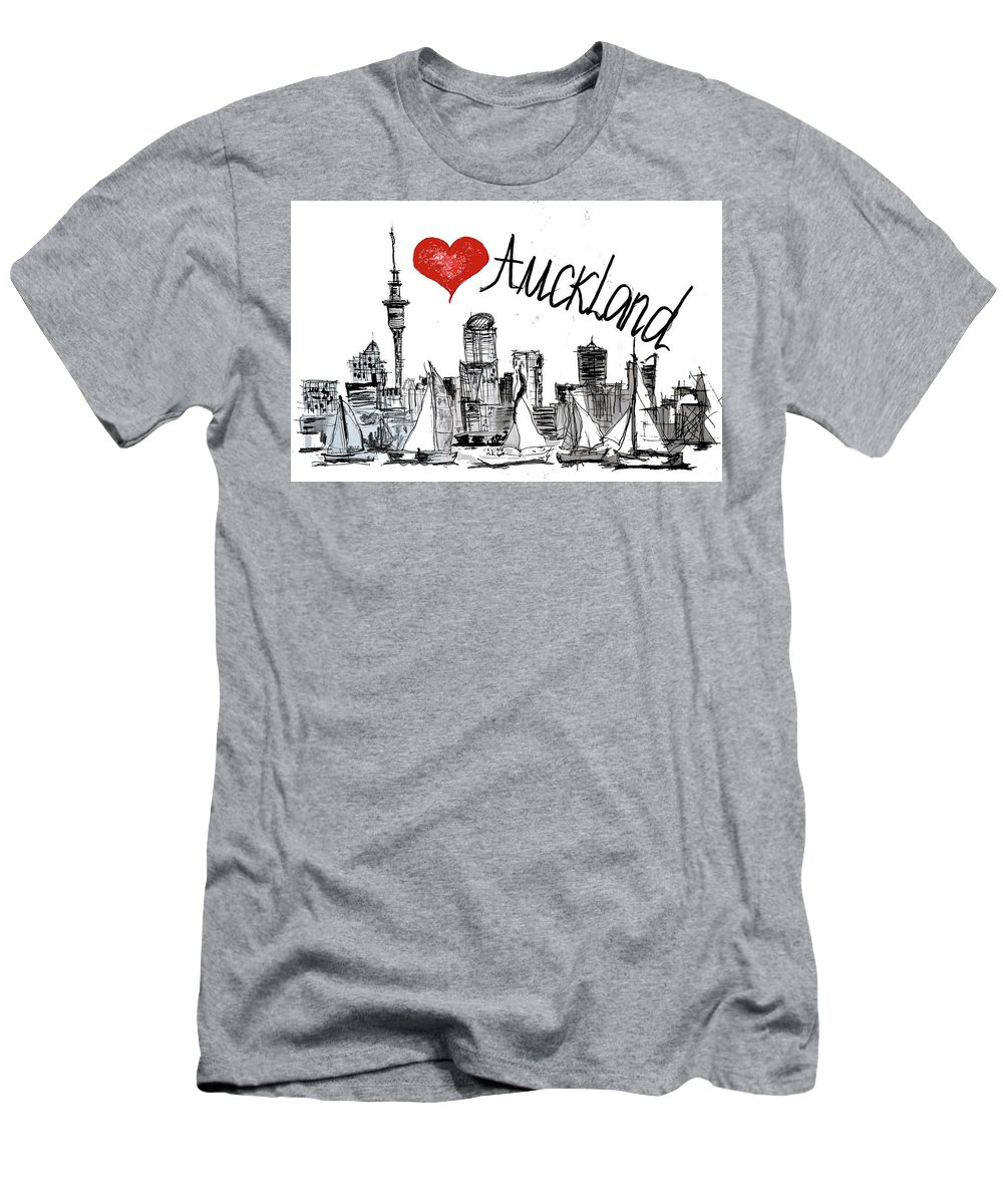Auckland Men's T-Shirt (Athletic Fit) featuring the digital art I Love Auckland by Sladjana Lazarevic