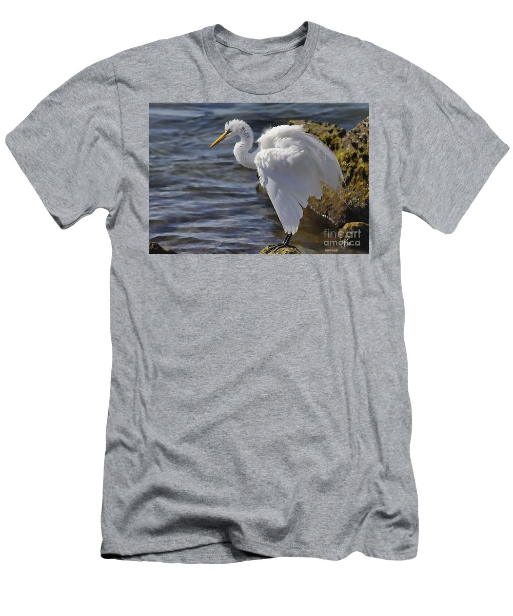 Giant Egret Men's T-Shirt (Athletic Fit) featuring the photograph I Need To Fluff by Deborah Benoit