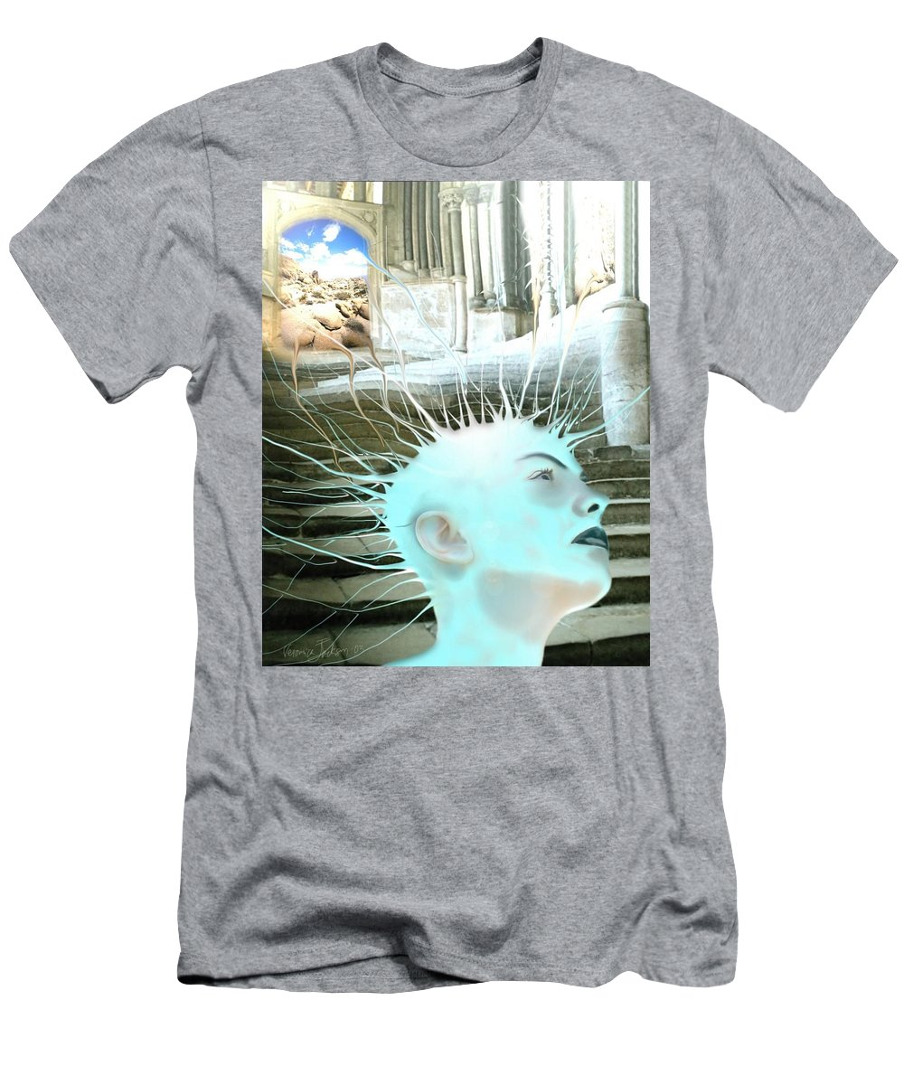 Thoughts Stairs Energy Space Men's T-Shirt (Athletic Fit) featuring the digital art I by Veronica Jackson