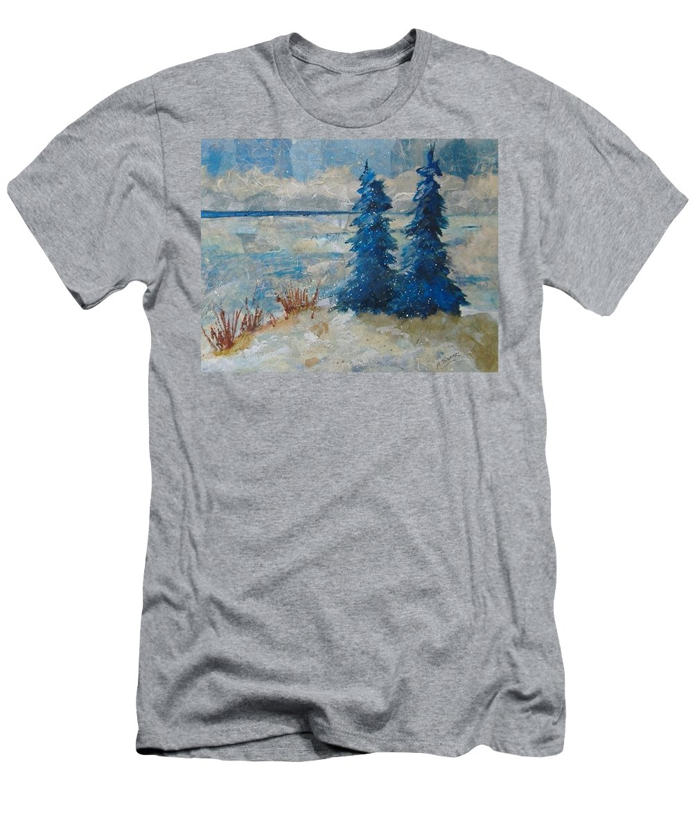 Landscape Men's T-Shirt (Athletic Fit) featuring the mixed media Ice On Lake Erie by Pat Snook