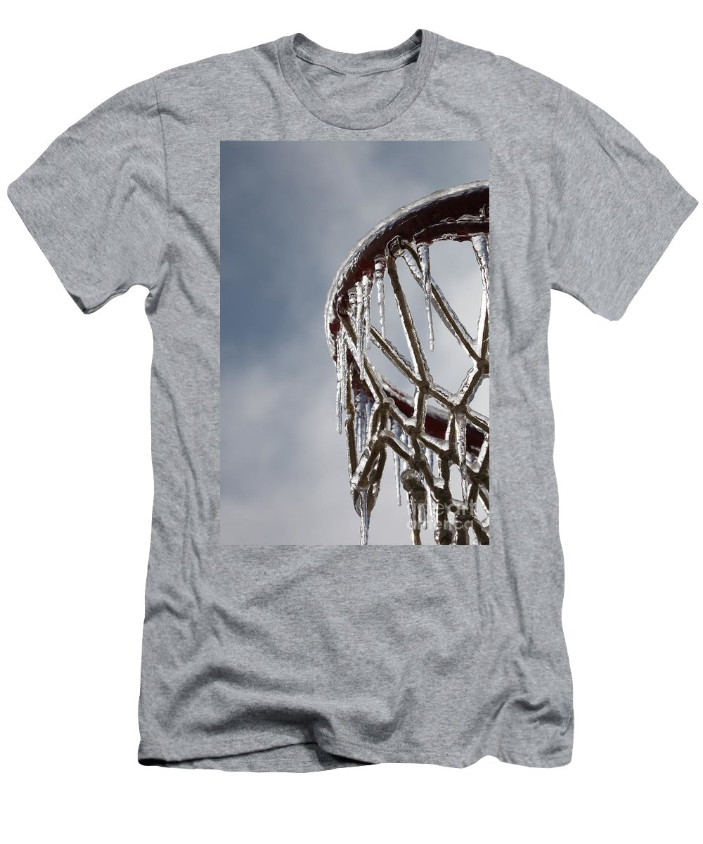 Basketball Men's T-Shirt (Athletic Fit) featuring the photograph Icy Hoops by Nadine Rippelmeyer