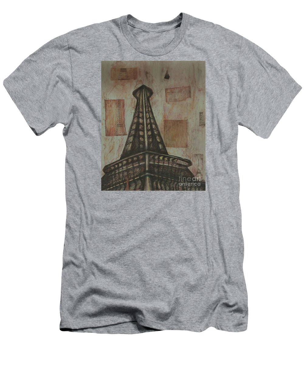 Structures Men's T-Shirt (Athletic Fit) featuring the painting Iffel Tower by Sidra Myers