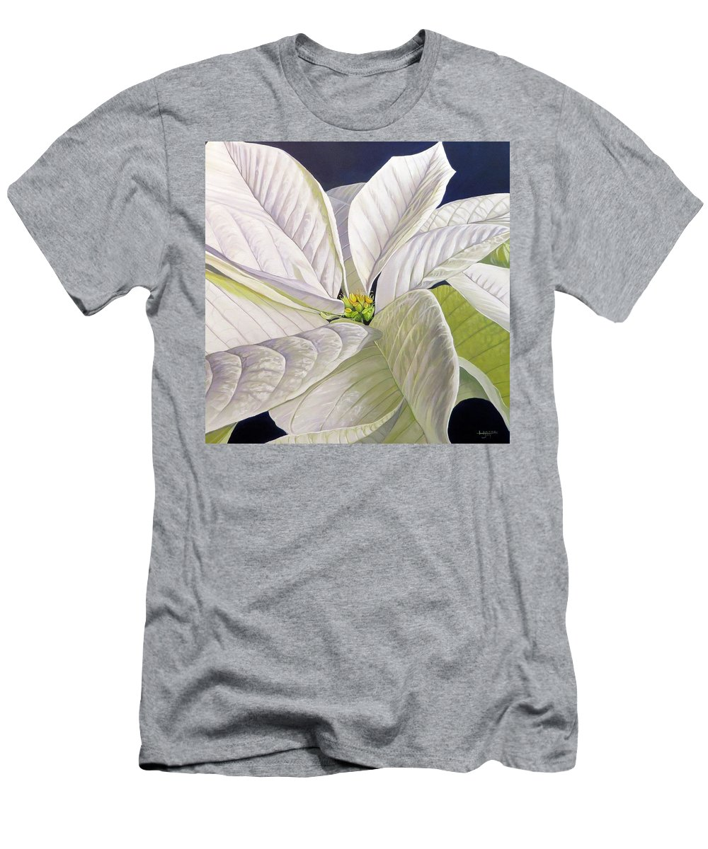 White Poinsettia T-Shirt featuring the painting Swirl by Hunter Jay