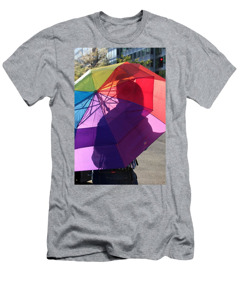 Umbrella Men's T-Shirt (Athletic Fit) featuring the photograph In An Umbrella by Cora Wandel