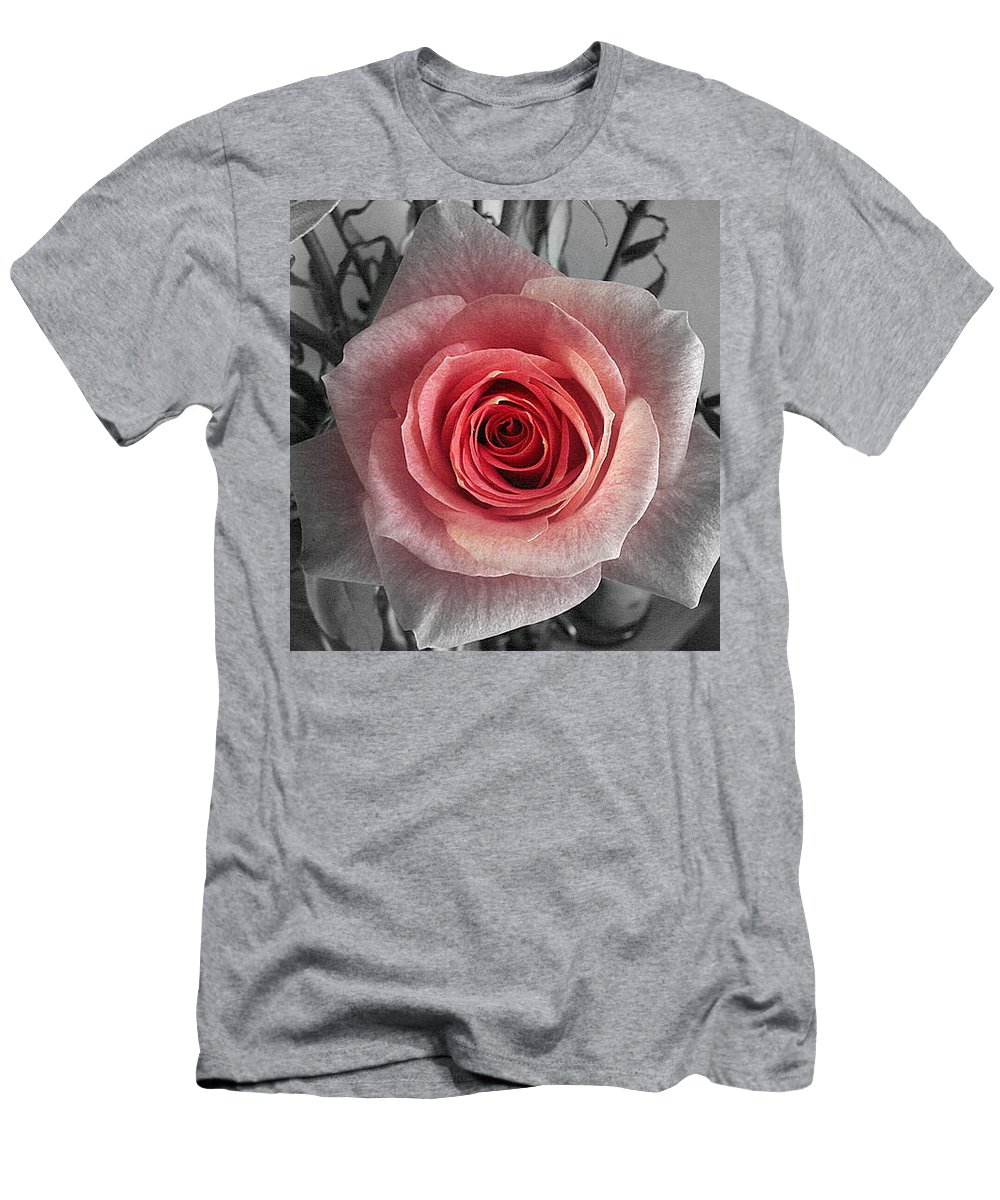 Rose Red Blackandwhite Men's T-Shirt (Athletic Fit) featuring the photograph In The Center by Luciana Seymour