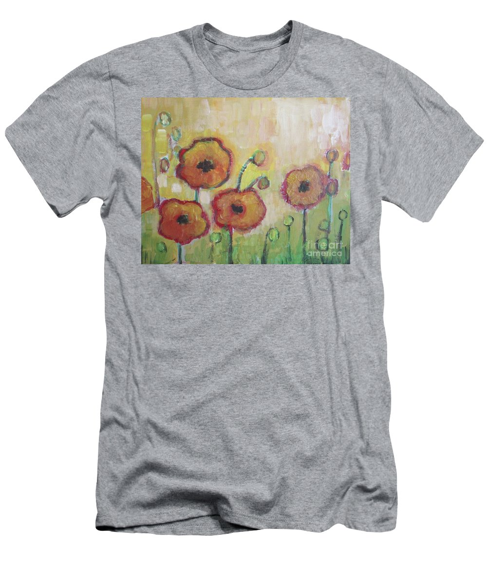 Poppies Men's T-Shirt (Athletic Fit) featuring the painting Poppies At Dusk by Vesna Antic