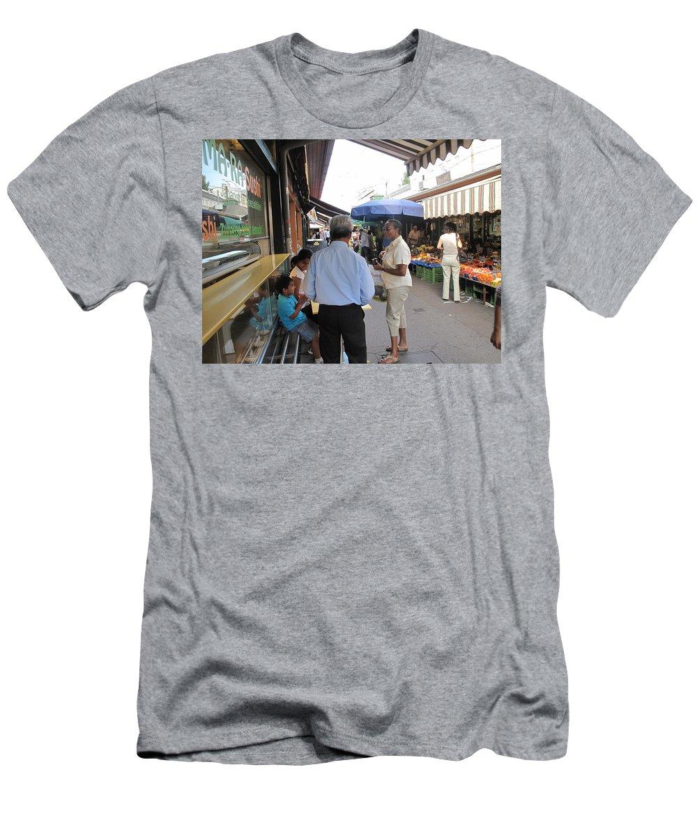 Naschmarkt Men's T-Shirt (Athletic Fit) featuring the photograph In The Naschmarkt Vienna by Ian MacDonald