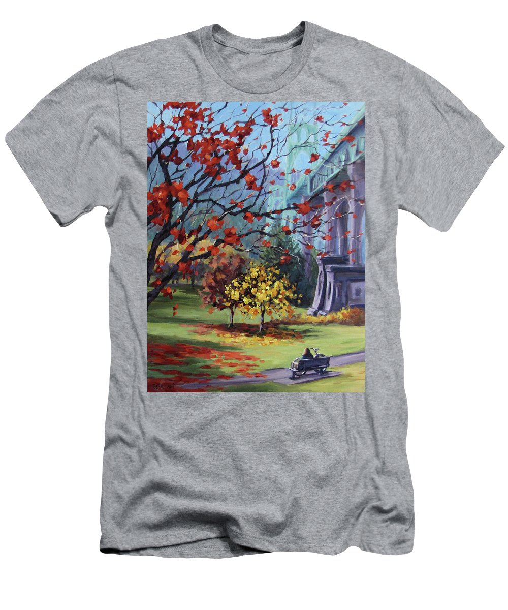 Fall T-Shirt featuring the painting In The Rainbow by Karen Ilari