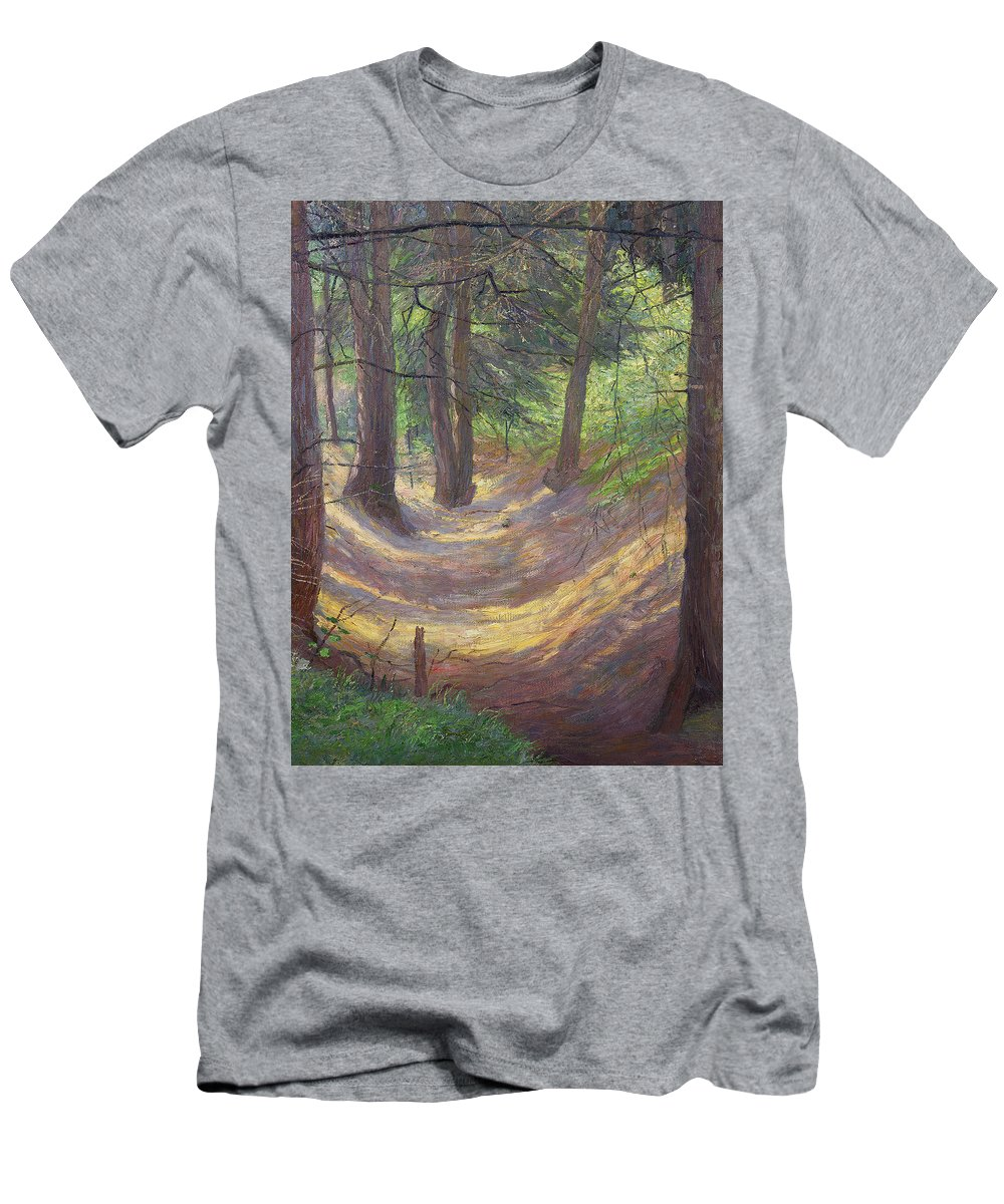 Friedrich Konig Men's T-Shirt (Athletic Fit) featuring the painting in the Vienna Woods by MotionAge Designs
