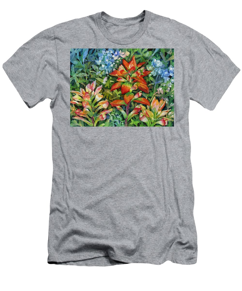 Wild Flower Men's T-Shirt (Athletic Fit) featuring the painting Indian Paintbrush by Hailey E Herrera
