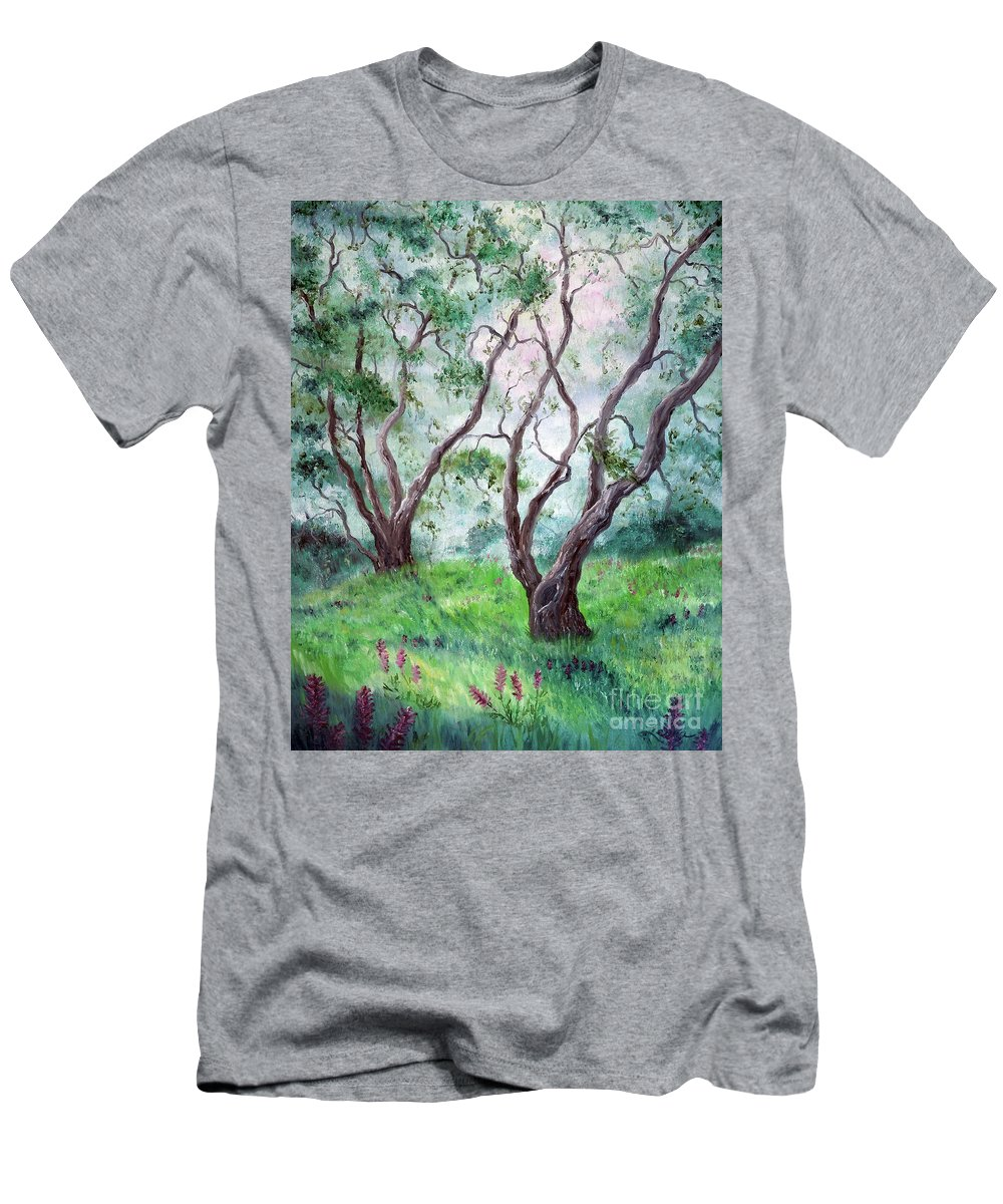 California Men's T-Shirt (Athletic Fit) featuring the painting Indian Warrior Flowers In Spring by Laura Iverson