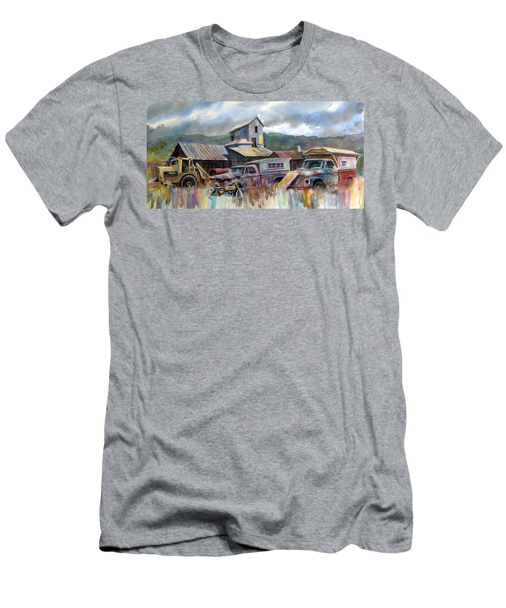 Trucks Men's T-Shirt (Athletic Fit) featuring the painting Industrial Recreation Park by Ron Morrison