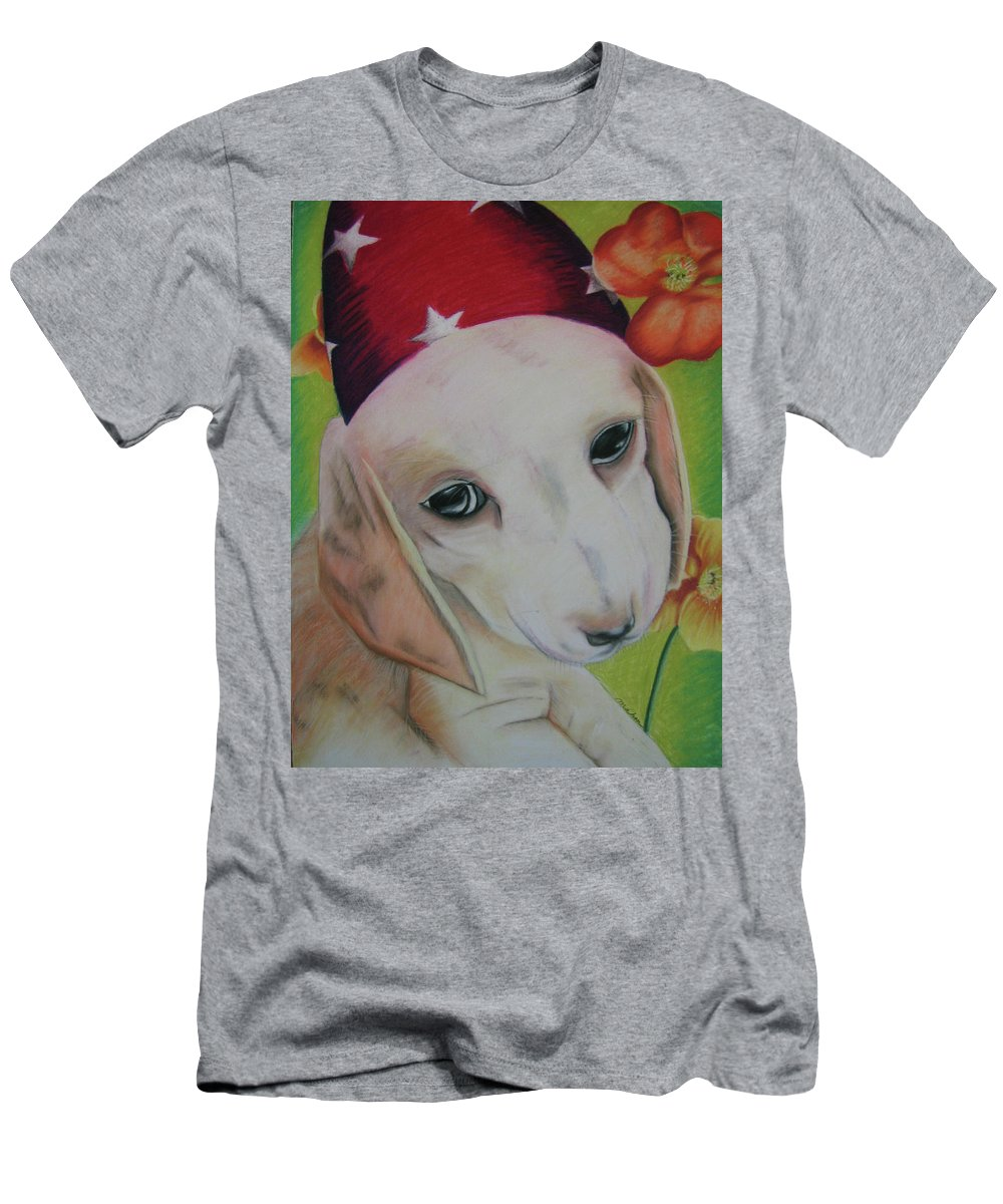 Dog Men's T-Shirt (Athletic Fit) featuring the pastel Indy by Michelle Hayden-Marsan