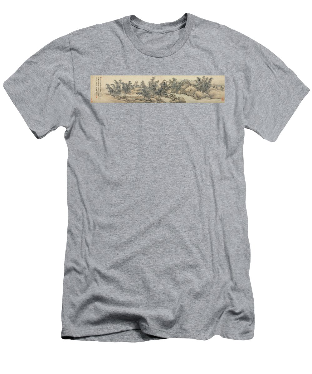 Wang Hui Men's T-Shirt (Athletic Fit) featuring the painting Ink Painting Landscape Bamboo Forest Rivers by Wang Hui