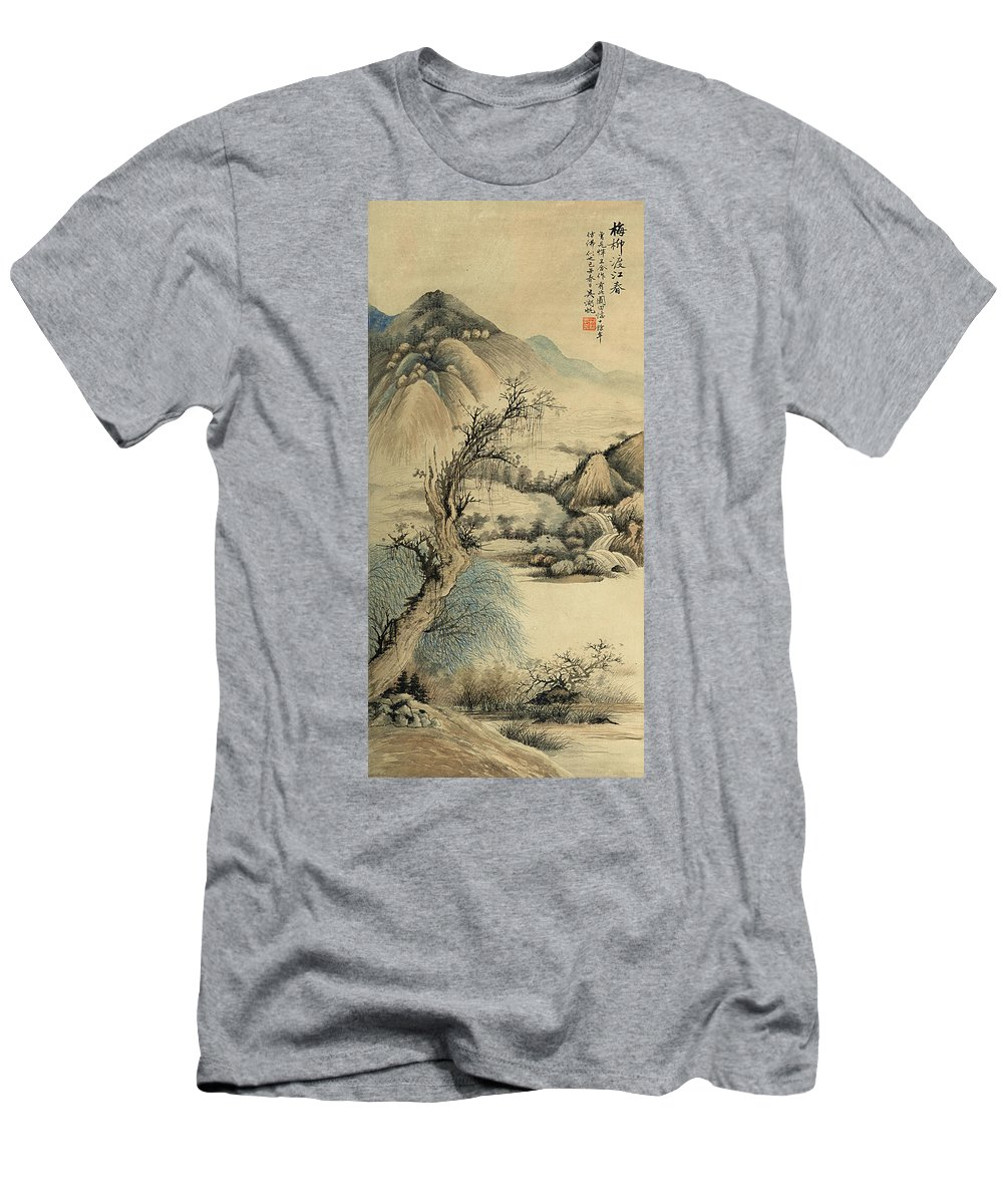 Wu Hufan Men's T-Shirt (Athletic Fit) featuring the painting Ink Painting Landscape River by Wu Hufan