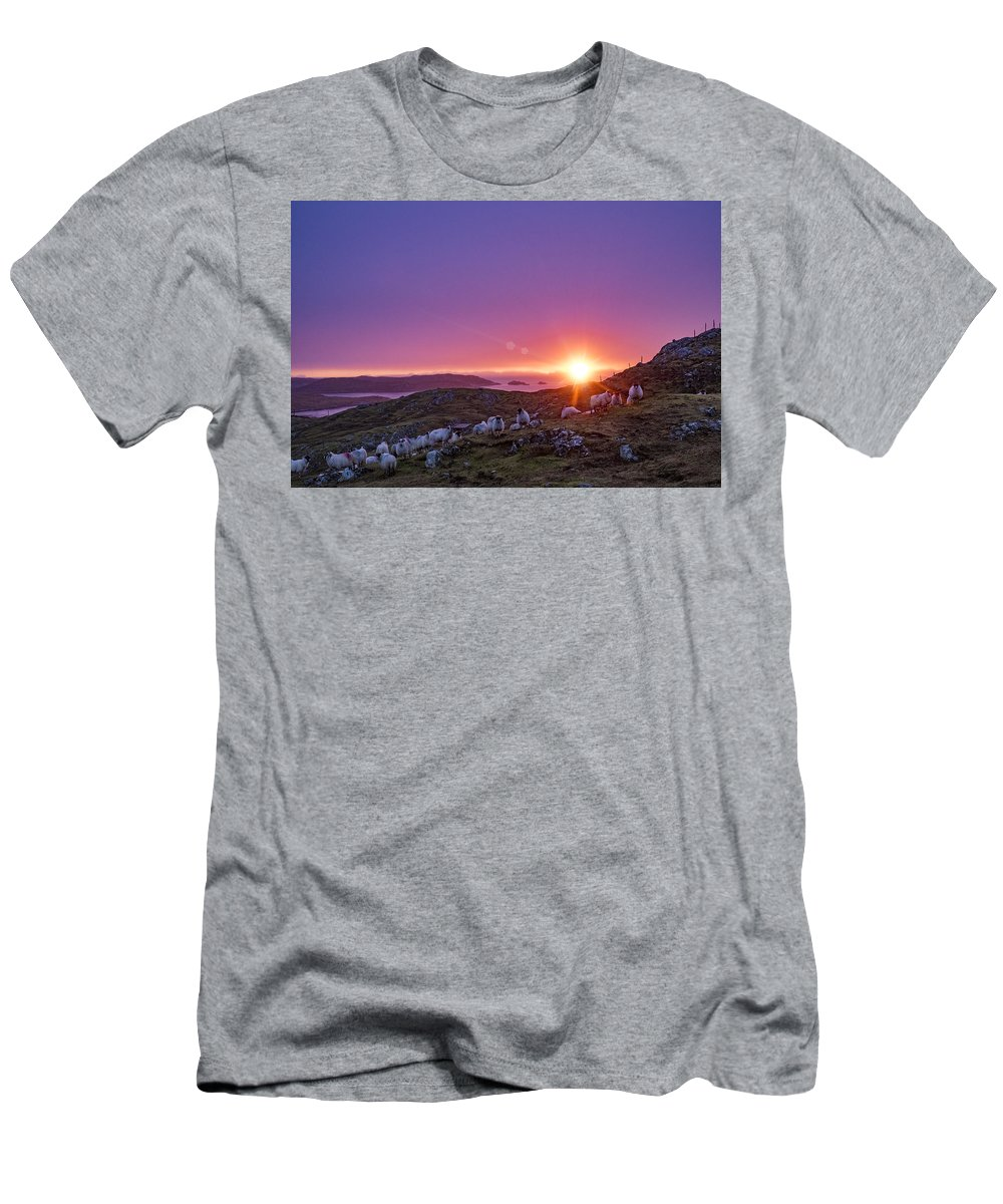 Scotland Men's T-Shirt (Athletic Fit) featuring the photograph Inquisitive Flock At Dawn, Harris by Neil Alexander