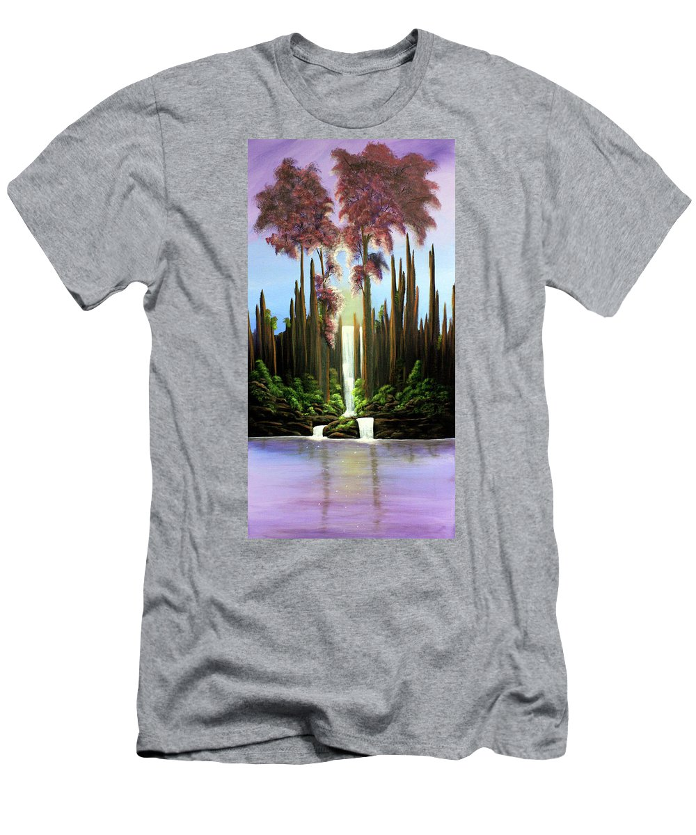 Waterfall Men's T-Shirt (Athletic Fit) featuring the painting Inspireation Falls by Dawn Blair