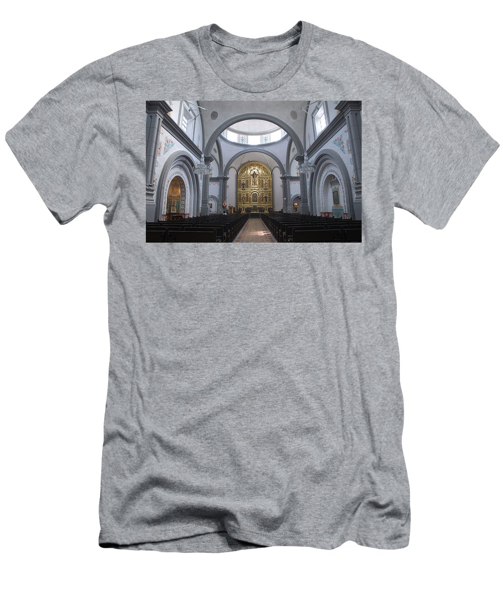 Architecture Men's T-Shirt (Athletic Fit) featuring the photograph Interior San Juan Capistrano by Bob Christopher