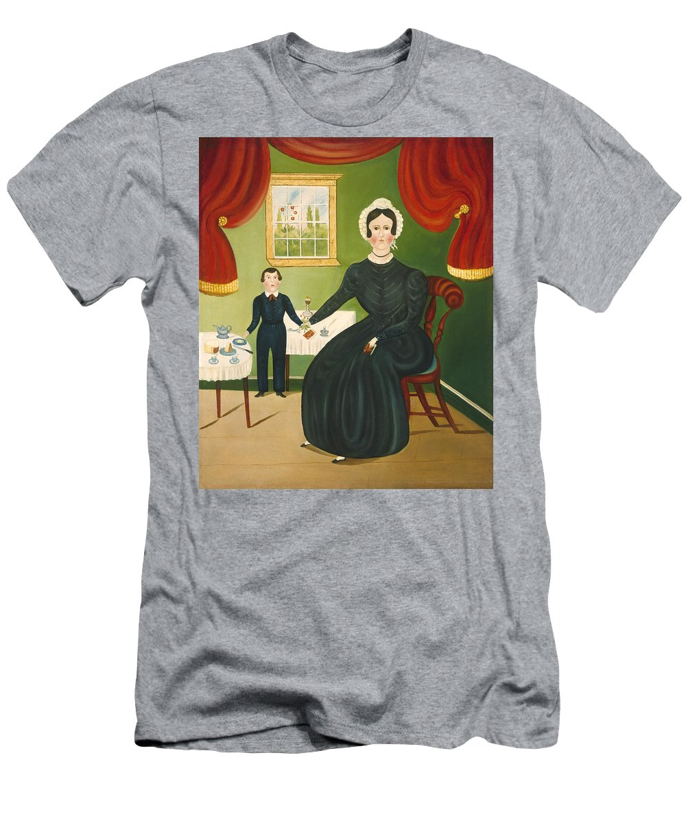 Art Men's T-Shirt (Athletic Fit) featuring the painting Interior Scene by American 19th Century