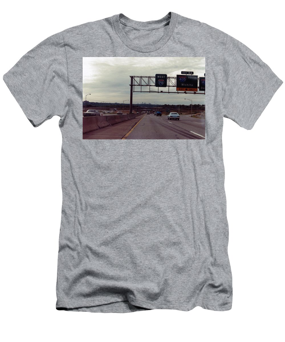 Kansas City Men's T-Shirt (Athletic Fit) featuring the photograph Interstate 70 West At Exit 8b, Interstate 435 North Exit, 1987 by Dwayne