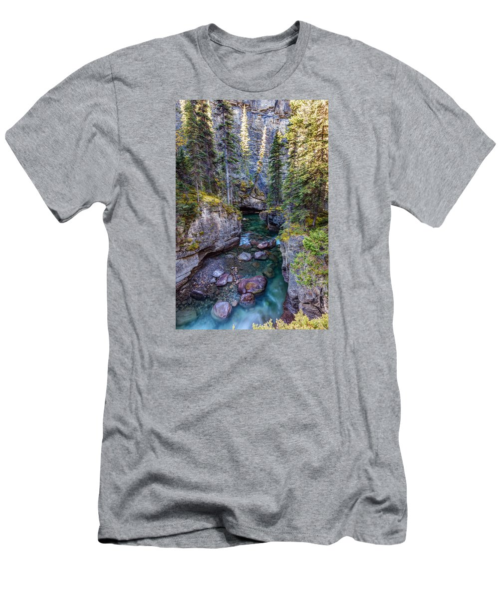 Maligne Canyon Men's T-Shirt (Athletic Fit) featuring the photograph Into The Heart Of Maligne Canyon by Pierre Leclerc Photography