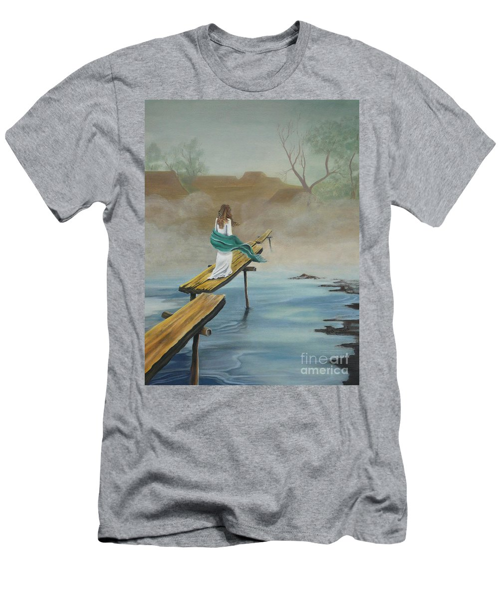 Water Men's T-Shirt (Athletic Fit) featuring the painting Into The Mist by Kris Crollard