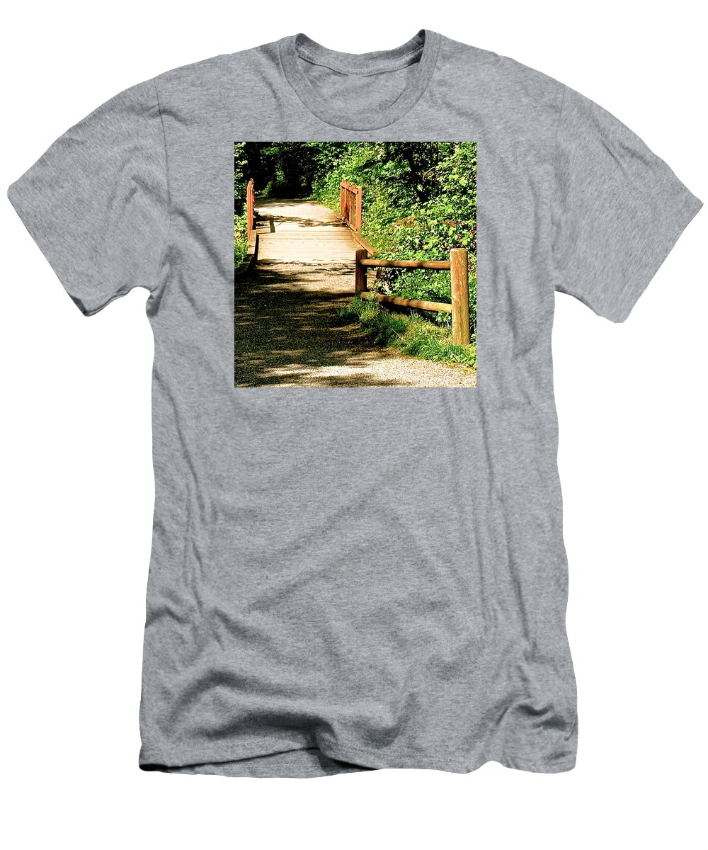 Path Men's T-Shirt (Athletic Fit) featuring the photograph Into The Woods by Katy Granger