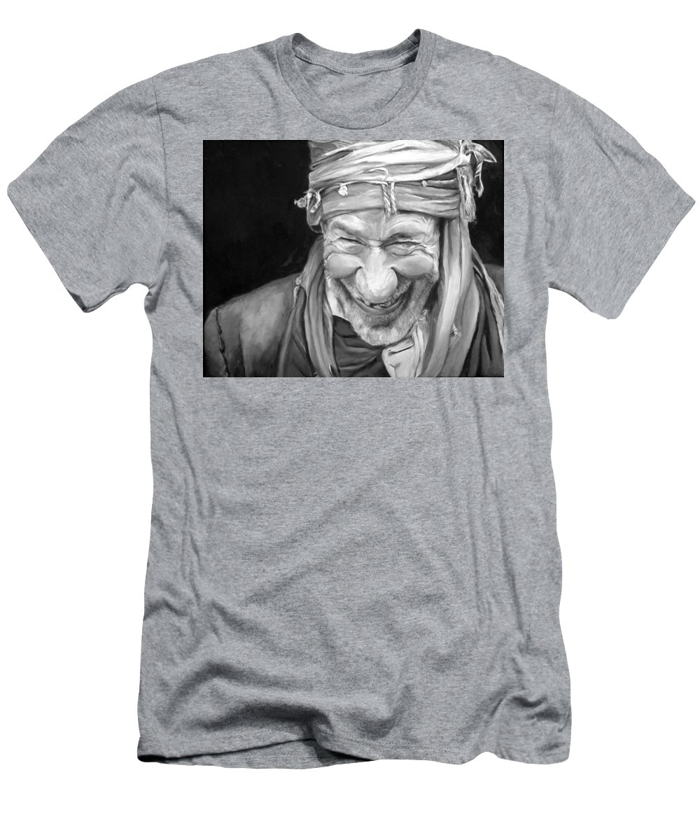 Man Men's T-Shirt (Athletic Fit) featuring the painting Iranian Man by Portraits By NC