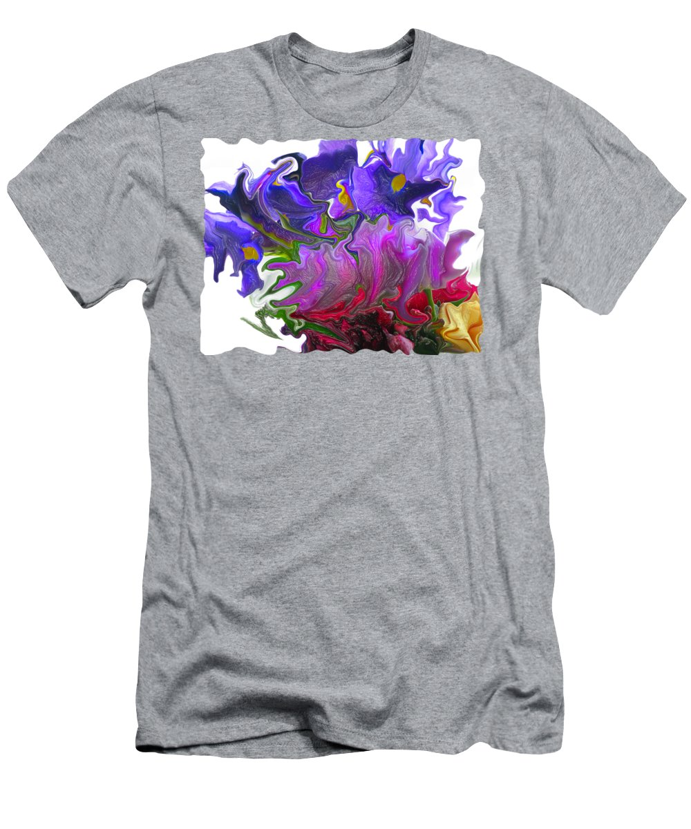 Abstract Men's T-Shirt (Athletic Fit) featuring the photograph Iris And Tulip by Kathy Moll