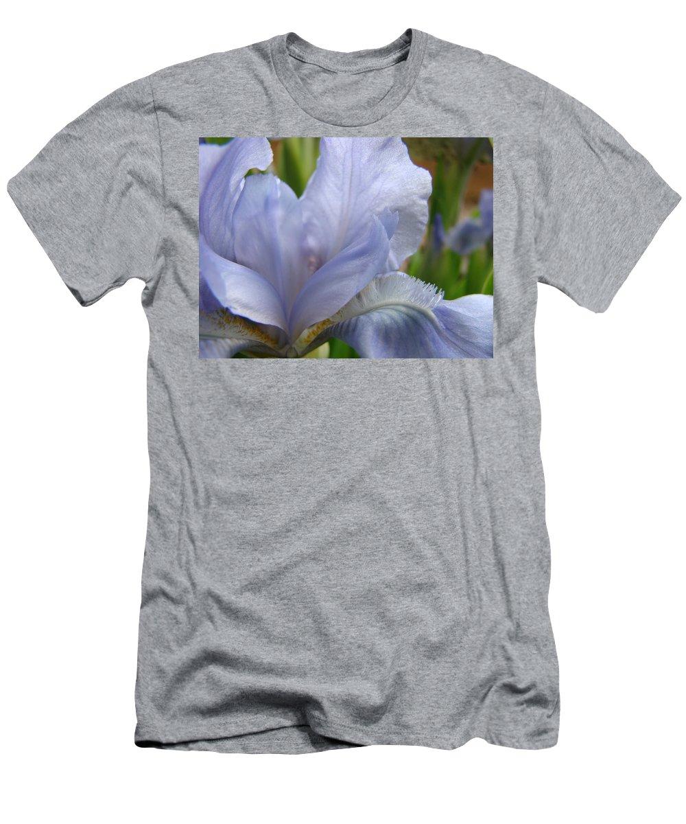 �irises Artwork� Men's T-Shirt (Athletic Fit) featuring the photograph Iris Flower Blue 2 Irises Botanical Garden Art Prints Baslee Troutman by Baslee Troutman