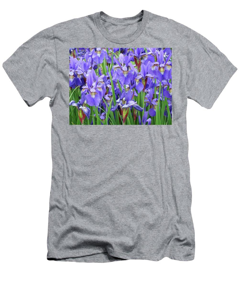 �irises Artwork� Men's T-Shirt (Athletic Fit) featuring the photograph Iris Flowers Artwork Purple Irises 9 Botanical Garden Floral Art Baslee Troutman by Baslee Troutman