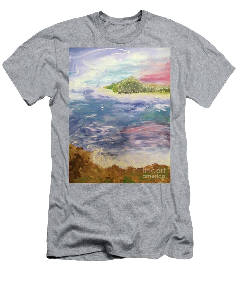 Drawing Men's T-Shirt (Athletic Fit) featuring the painting Islands by Galina Lavrova